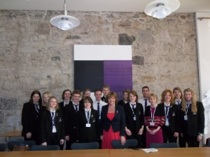 Fiona Hyslop MSP with Elma Birrill and the Norwegian Pupils
