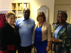 Fiona Hyslop with ASHI Chairman Mr David Okalo Olwa, Ms Mukami I McCrum MBE (Charity Secretary) and Vice Chair, Ms Nataliia Hinde